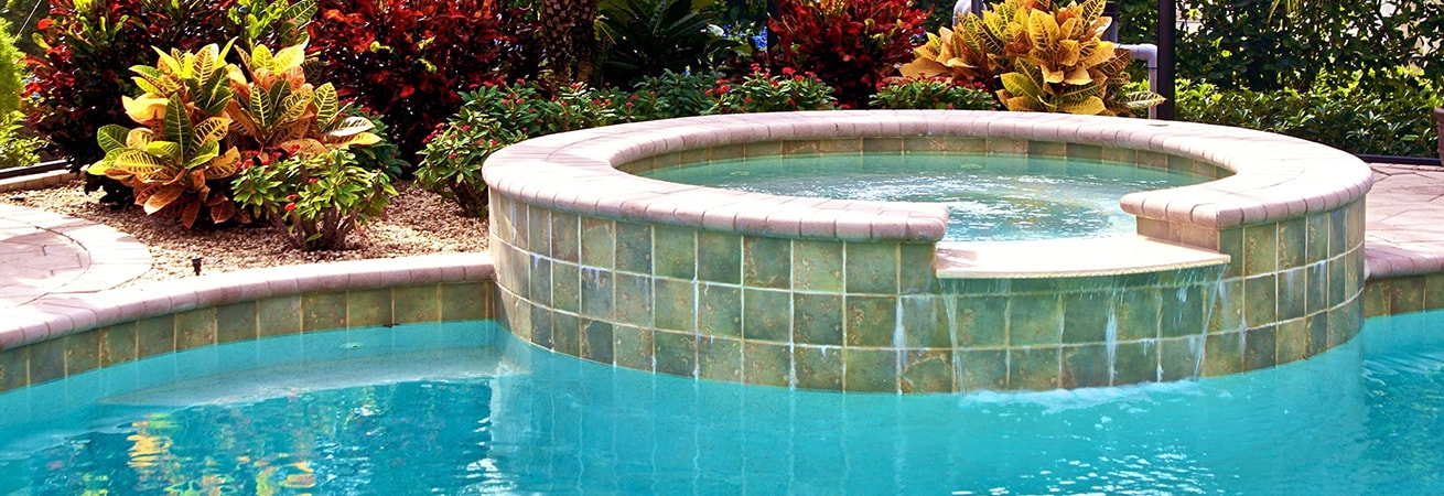 heated pool with hot tub