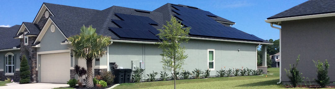 House with 56 solar panels in St. Johns, Florida